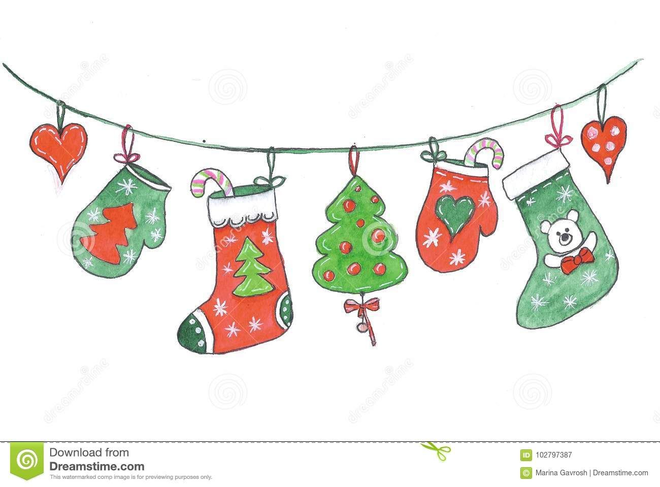 Merry Christmas Decorations Hanging On A Rope Drawing In Watercolor Stock Illustratio Merry Christmas Decoration Christmas Tree Painting Christmas Decorations