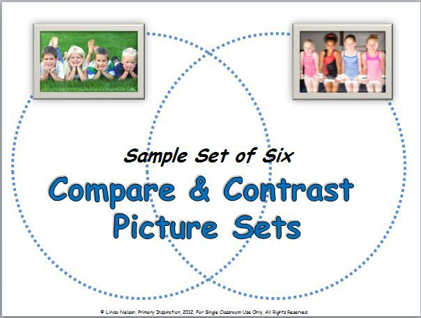 FREE six picture sets for teaching comparing and contrasting, @ http://primaryinspiration.blogspot.com/2012/10/compare-and-contrast-freebie.html