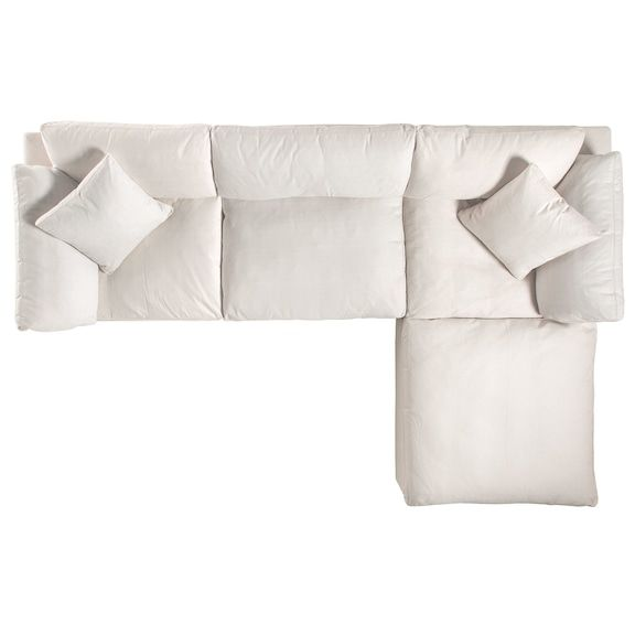 Best Plush 3 Piece Sectional Sofa And Ottoman Ivory White 400 x 300