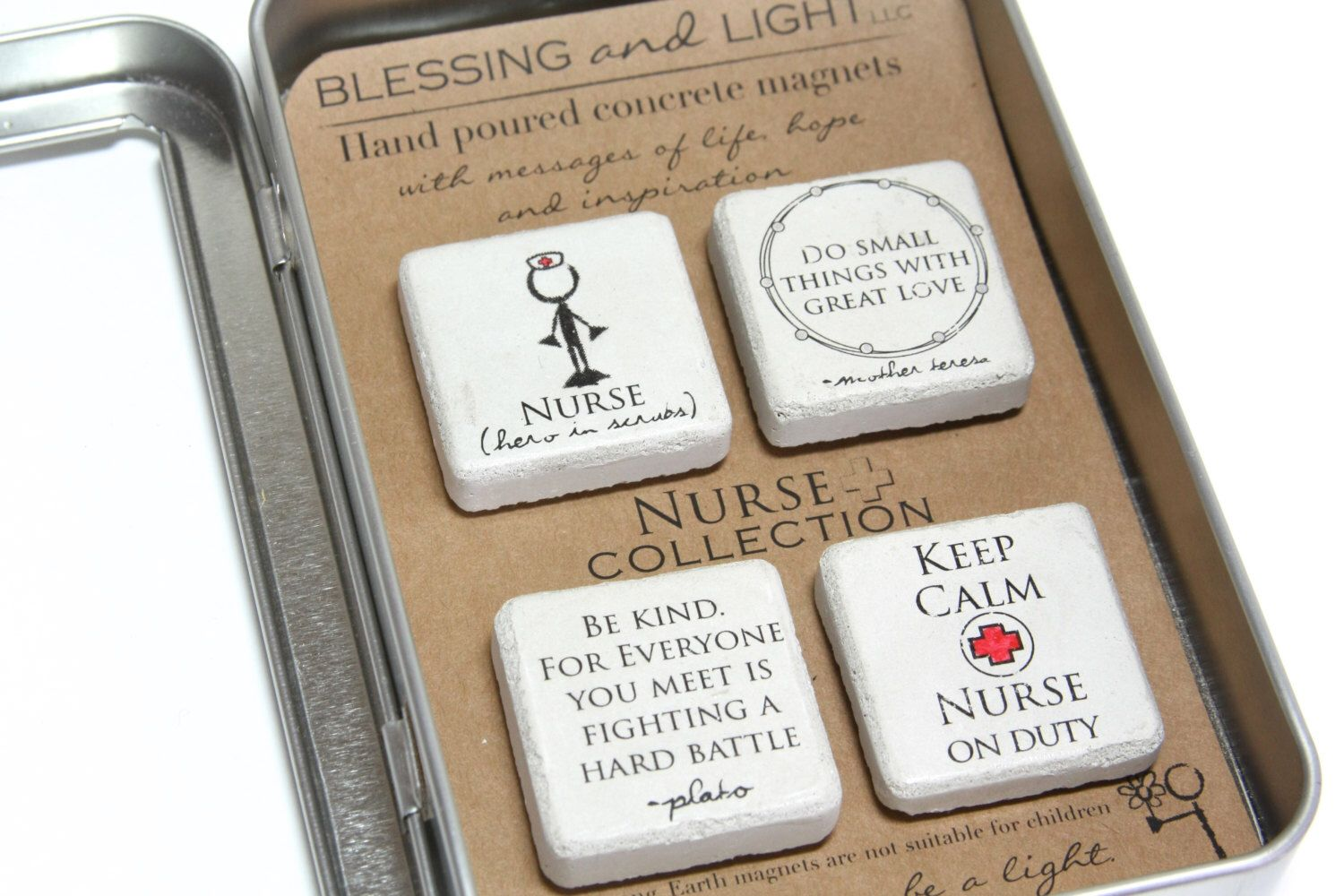 FREE SHIPPING. Nurse Gift. Rustic Refrigerator Magnets.1.25 x 1.25 Gift Tin with Ribbon. Hand painted Magnets. Nurse Appreciation Graduation by blessingandlight on Etsy https://www.etsy.com/listing/224104825/free-shipping-nurse-gift-rustic