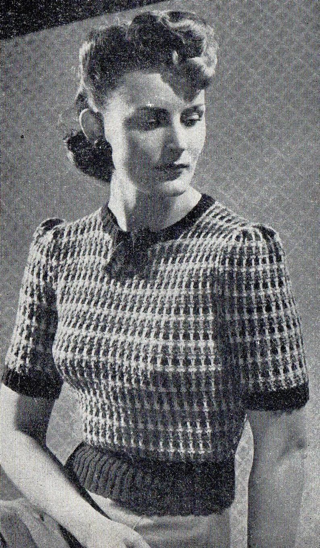 1940/'s Wartime Striped Jumper Vintage Knitting Pattern Copy
