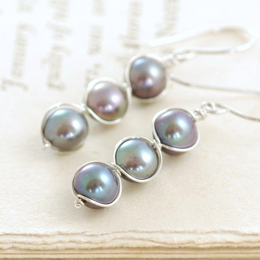 Holiday SALE Peacock Pearl Earrings Wrapped in Sterling Silver, Handmade Pearl Jewelry, June Birthstone Earrings, aubepine