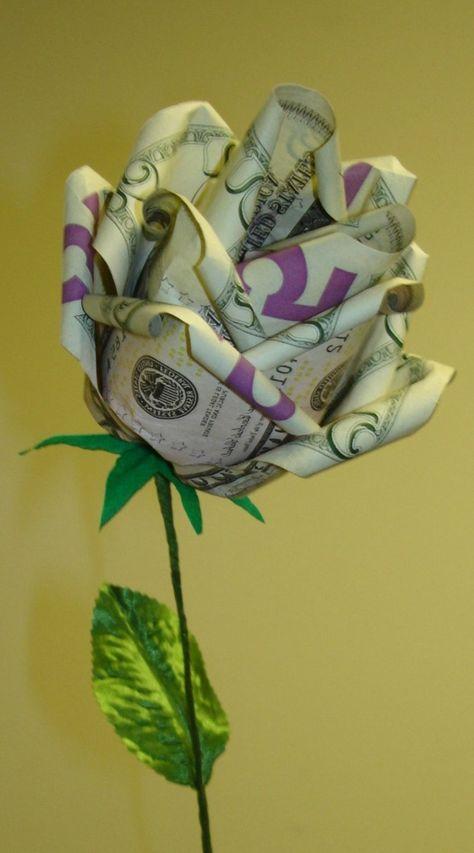 Origami Rose Anleitung Geld Banknoten Basteln Pinterest