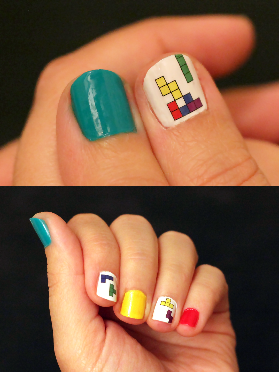 Nail art for geeks - This Tetris nail art is absolutely amazing ...