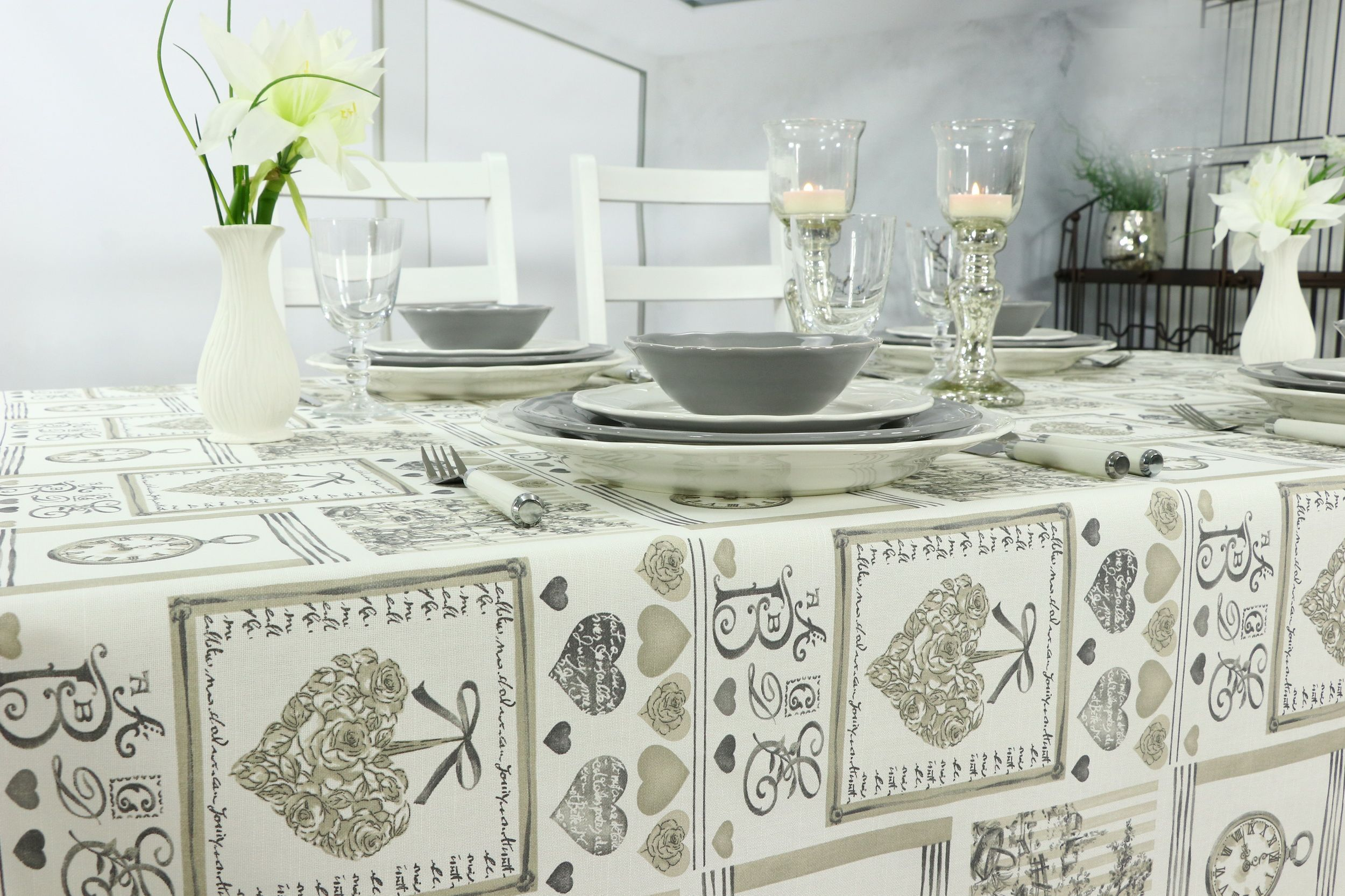 Nostalgische Vintage Tischdecke im modernen Stil | Abwaschbare ...