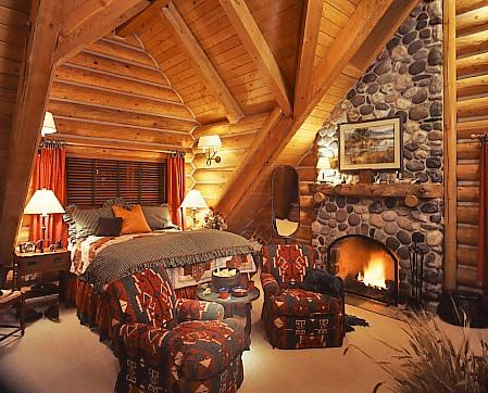 Nothing Says Luxury Like A Roaring Fire In A Bedroom Hearth. Rustic BedroomsCabin  BedroomsMaster BedroomsLog ...