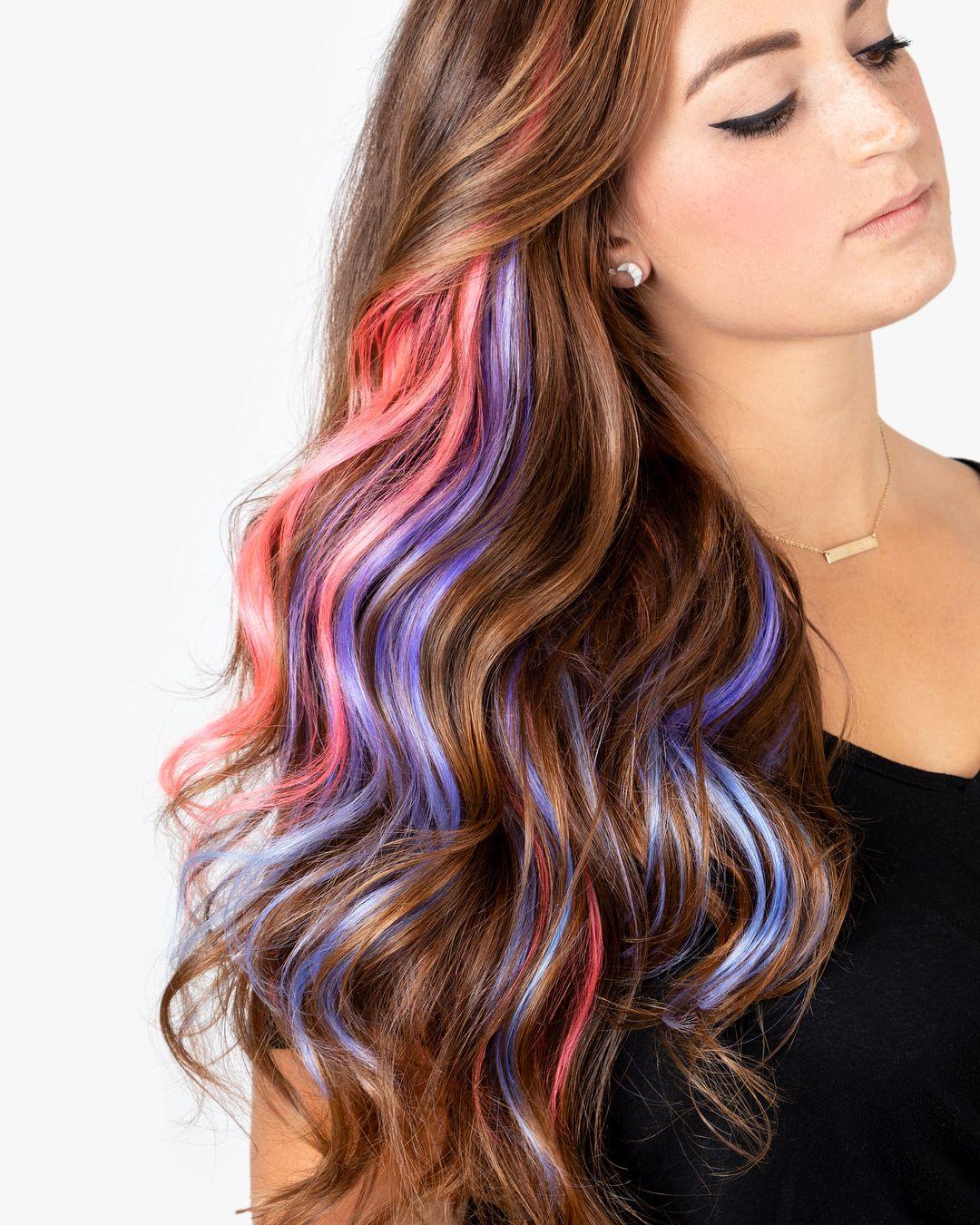 квадратный цветные пряди волос фото на русые волосы трех кругов