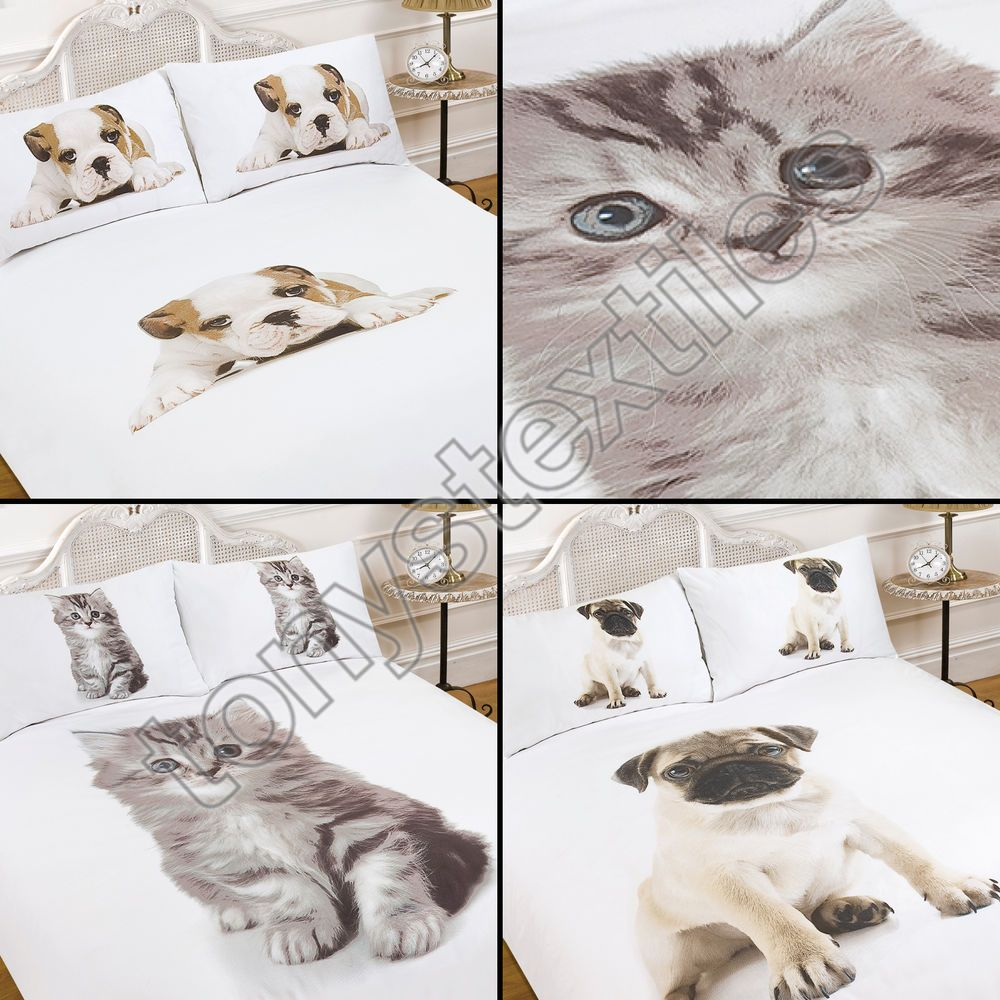 Pug bulldog kitten cat dog puppy cute quilt duvet cover ...