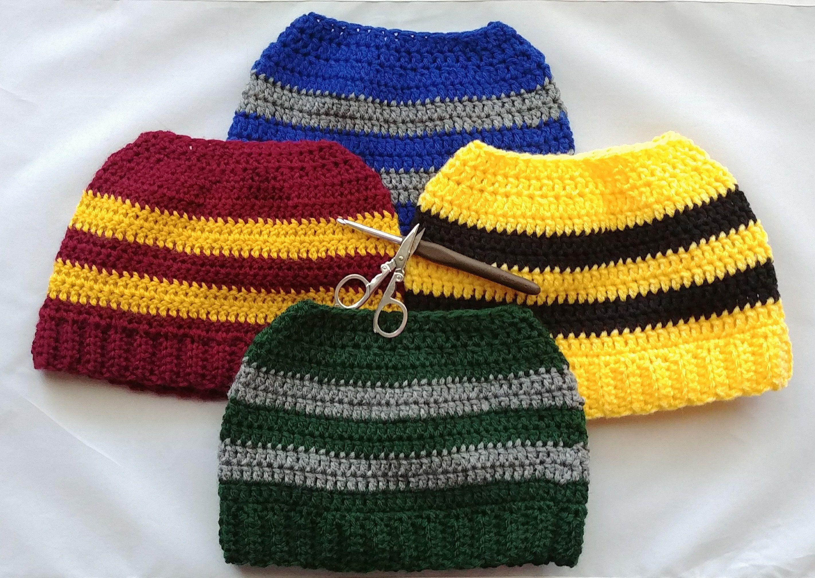 Harry Potter Inspired Crochet Messy Bun Hats Harrypotter Crochet Messybunhat Ponytailhat Gryffindo Harry Potter Crochet Harry Potter Scarf Ravenclaw Scarf