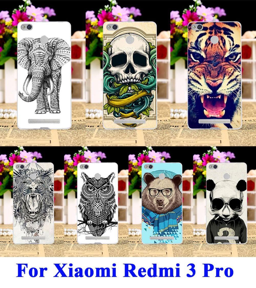 부드러운 tpu 하드 pc 전화 case 커버 xiaomi redmi 3 s redmi 3 프로 redmi 3 s pro 주택 커버 귀여운 동물 cat 호랑이 사자 쉘