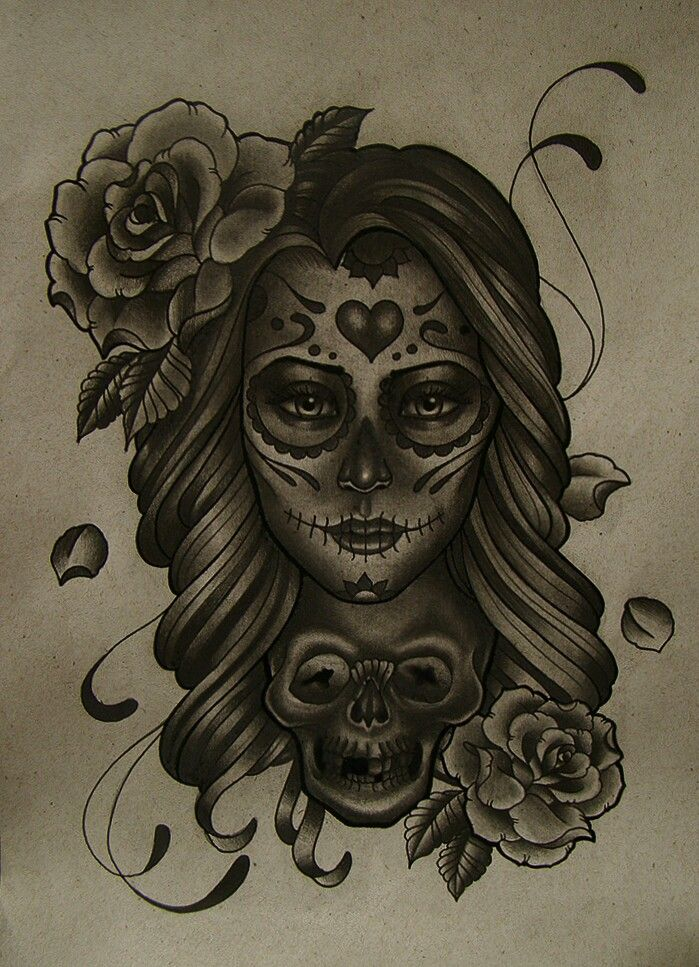 77aefc6515b13 Day of the dead tattoo idea minus the roses and skull | Pencil art ...