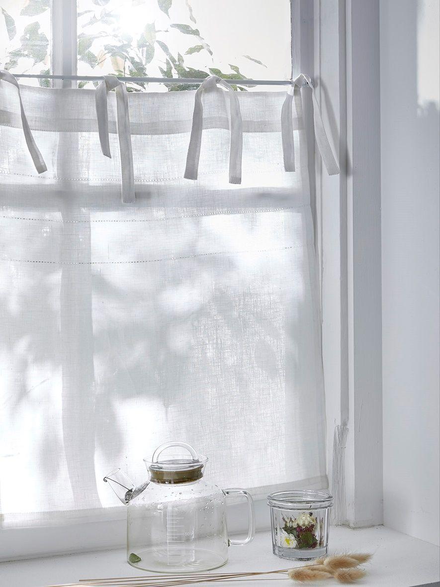 Perfekt Cyrillus Scheibengardine, Leinen In Weiß