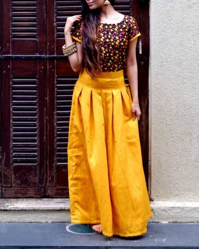 32688f0d91 Mustard Crop Top And Skirt Set I Shop at… The Secret Label, Indian Fashion