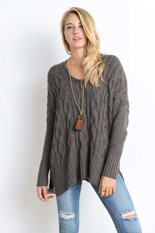 ca325883f7e Wishlist Oversized Cable Knit Sweater for Women in Dark Olive
