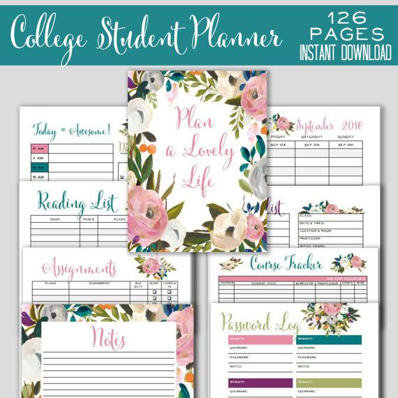 College Student Planner 2017-18, Weekly Planner and Printable Agenda