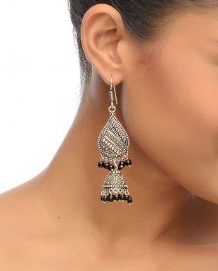 Teardrop Earrings With Black Stone Drops $49