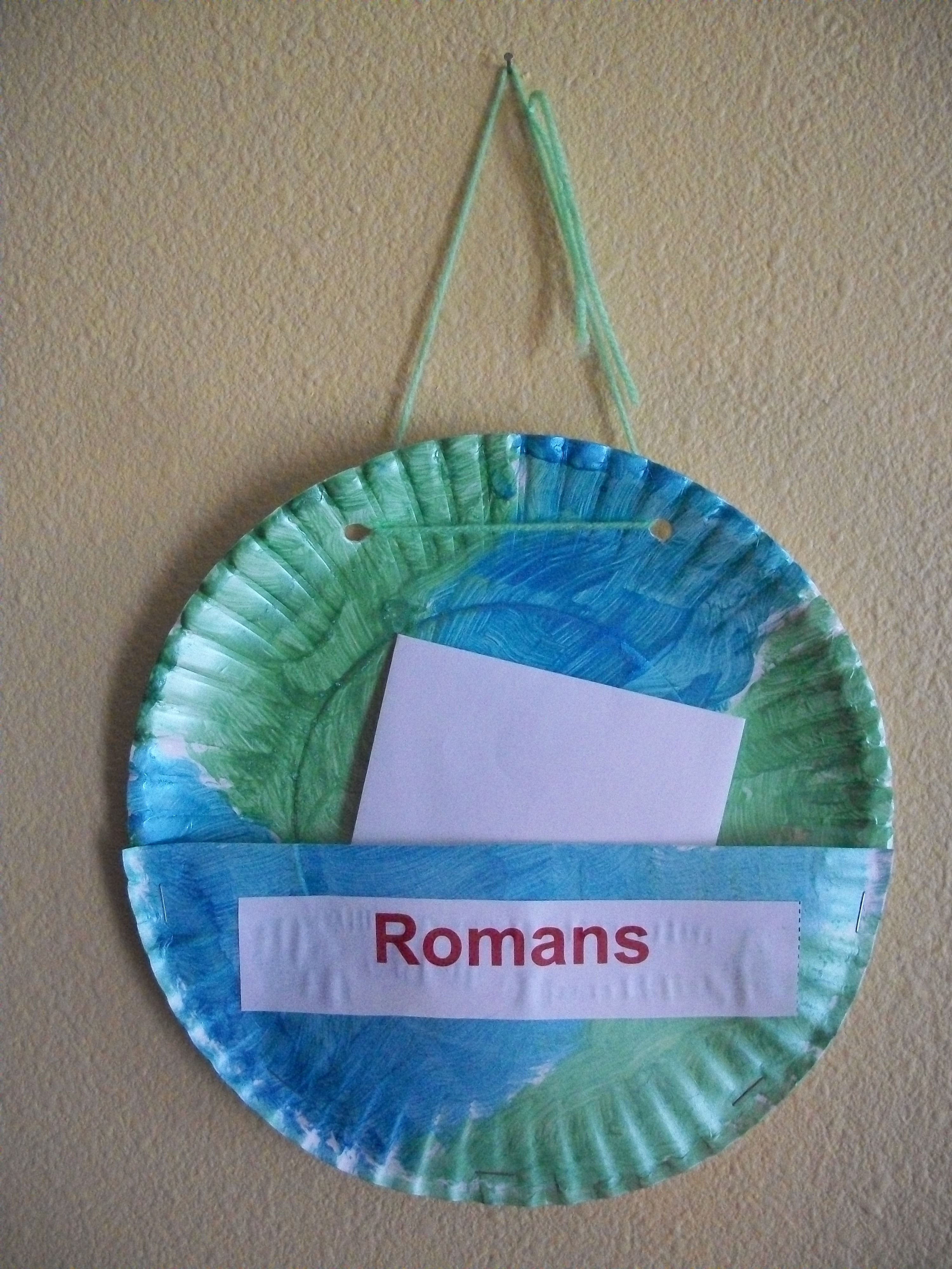 Create a paperplate 'mail pocket' for each of the churches