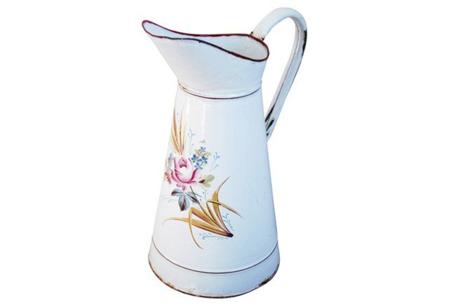 French Hand-Painted Pitcher w/Roses