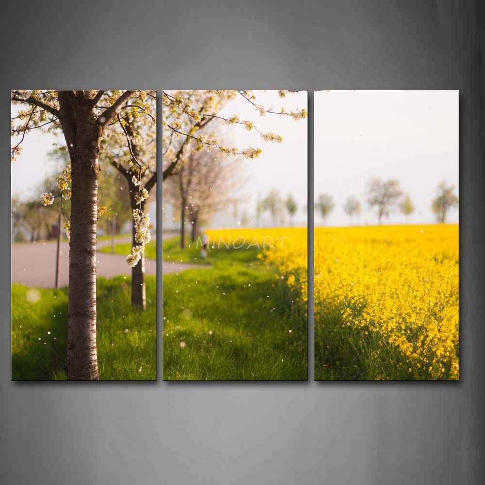 3 Piece Wall Art Painting Flower Trees And Yellow Flower Field In ...