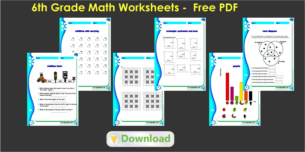 6th grade math worksheets Math Worksheets pdf downloads