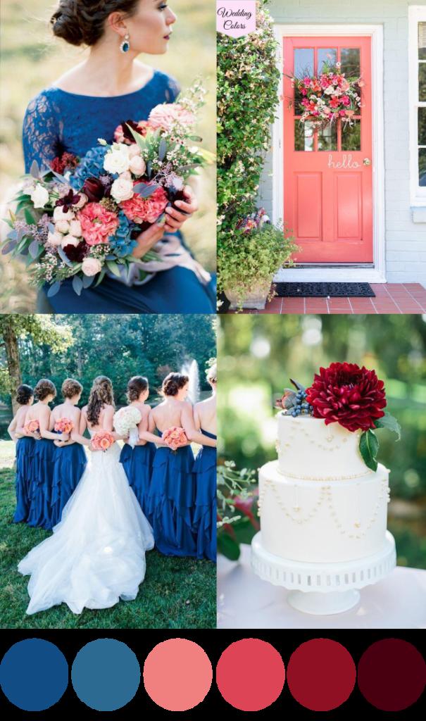A Royal Blue, Coral & Cranberry Wedding Palette August