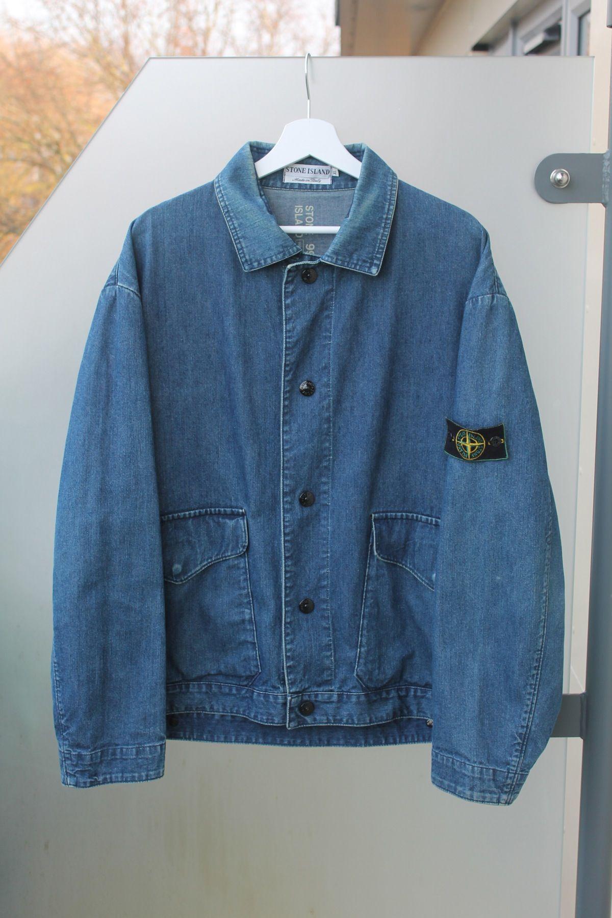 Image Of S S 1995 Stone Island Denim Jacket Casual Outerwear Menswear Stone Island Shorts