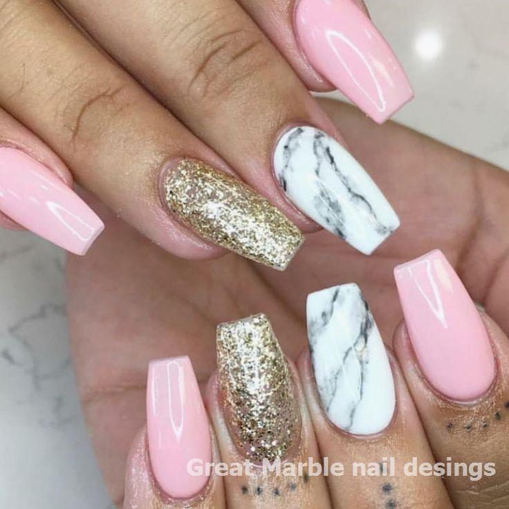 25 Marble Nail Design With Water Nail Polish 1 Nailarts Naildesigns In 2020 Pink Acrylic Nails Gold Glitter Nails Gold Acrylic Nails