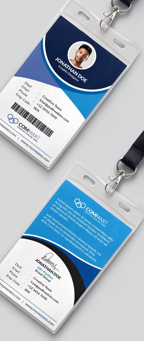 free corporate office identity card template psd
