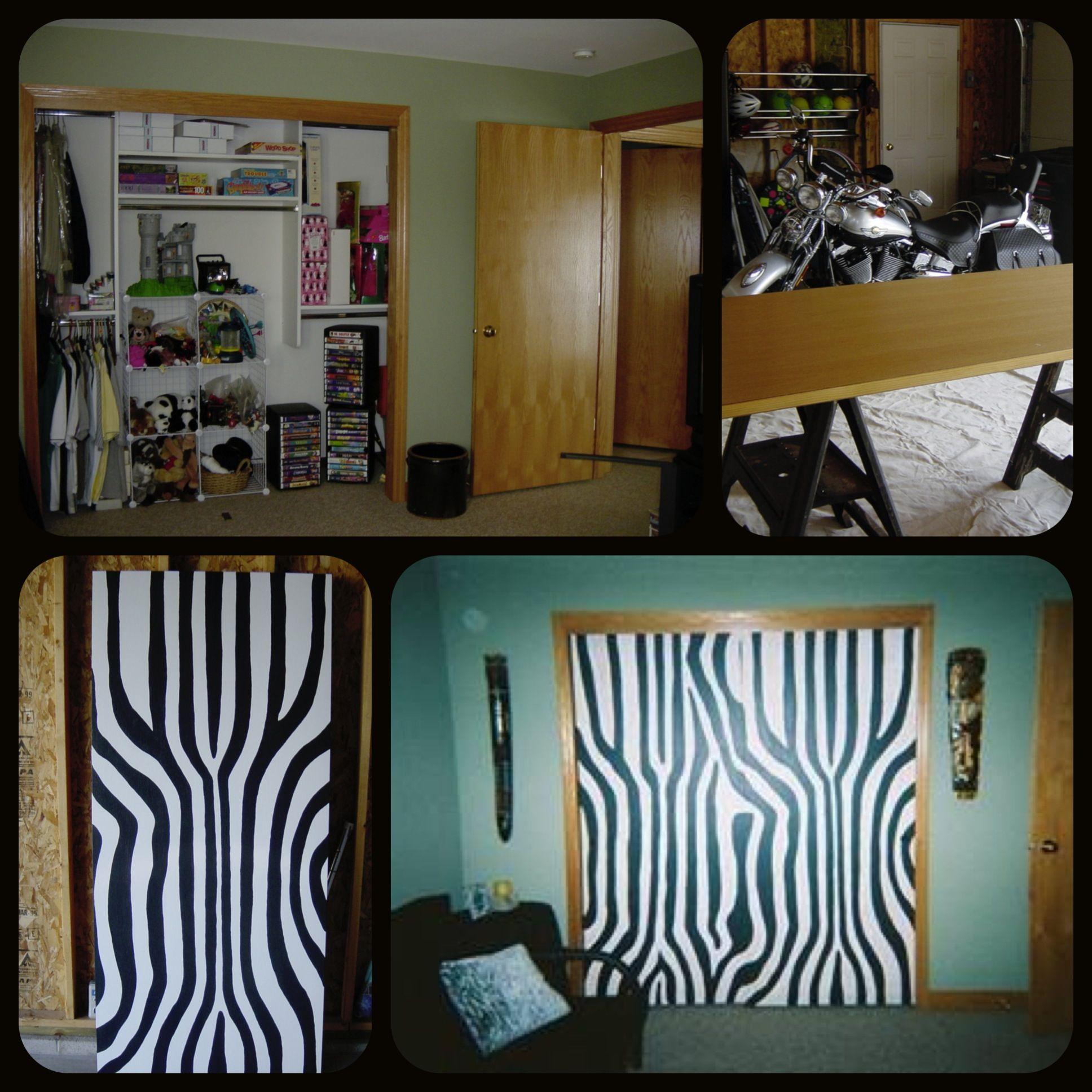 Zebra Painted Closet Doors In A Jungle Theme Room I Used A Zebra