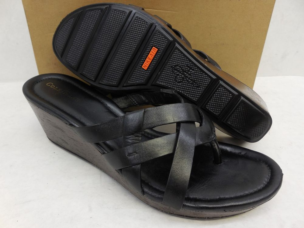 5d18343bf1 Cole Haan Black Leather Nike Air Bonnie Strappy Slide Platform Wedge  Sandals 8 #ColeHaan #PlatformsWedges