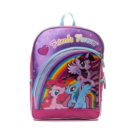 Shop for Girls My Little Pony Sequin Backpack, Multi, at Journeys Shoes. Ponies stay friends forever! My Little Pony themed backpack with Friends Forever text and front graphics of Pinkie Pie, Twilight Sparkle, and Rainbow Dash. Features fun glitter and sequin details, zip closure, front zipper pocket, stretchy elastic side pockets, and adjustable shoulder straps.Dimensions L 11.75 x W 4.75 x H 16