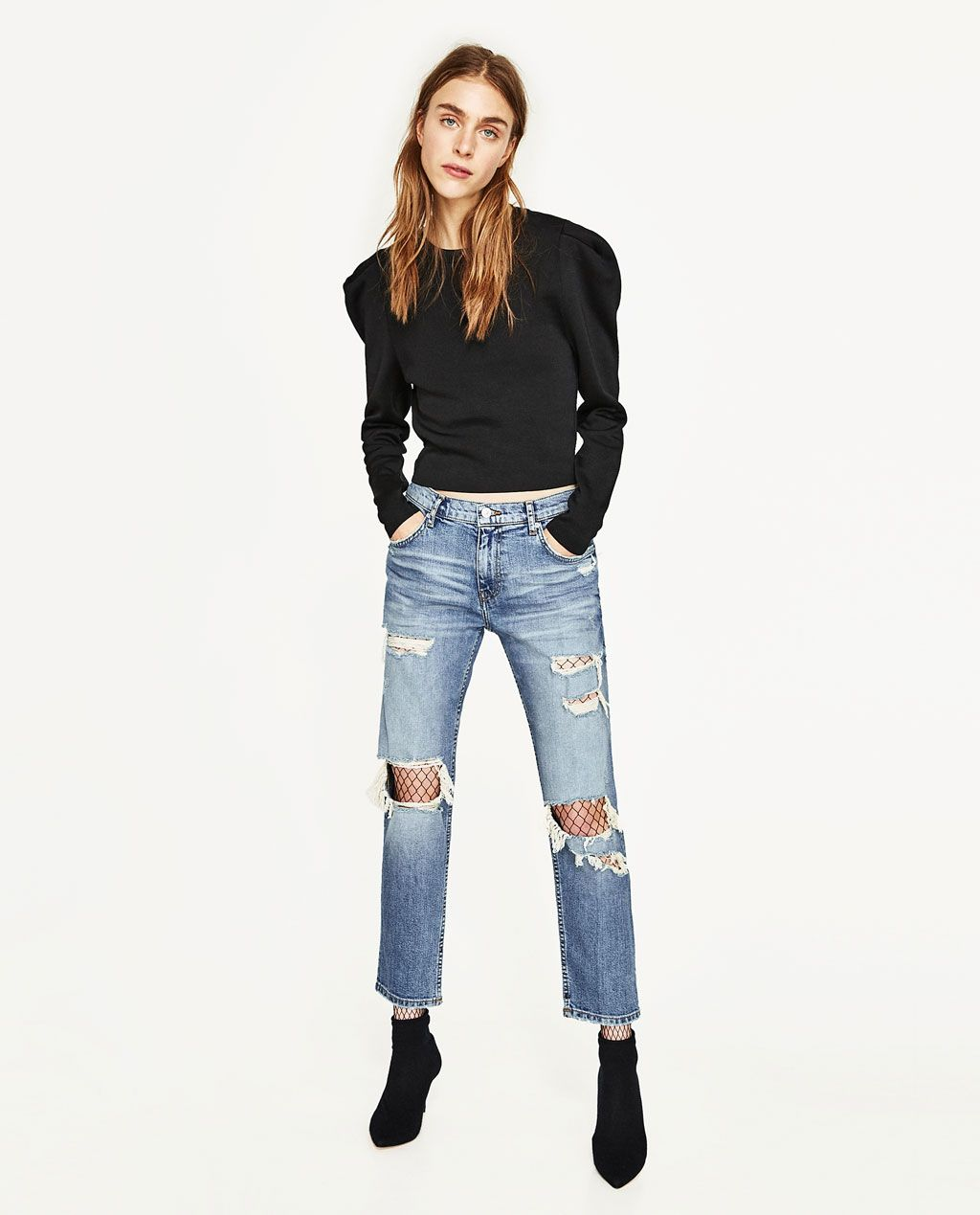 cf3a3d27 Image 1 of SLIM FIT MID-RISE BOYFRIEND JEANS from Zara | Want List ...