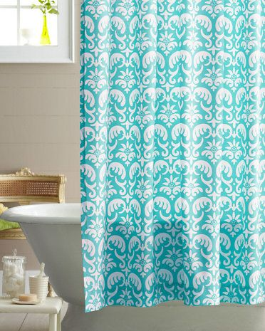 Ocean Damask Floral Shower Curtain