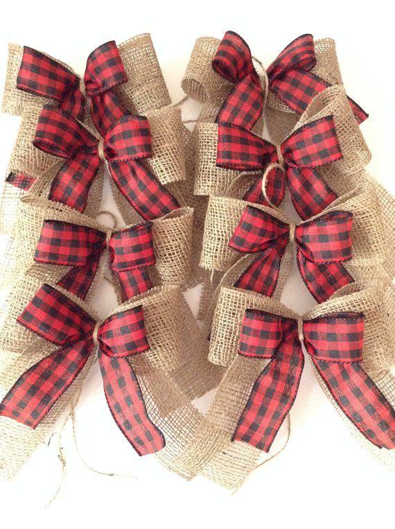 Christmas Tree Red and Black Plaid Bows / Xmas Plaid Decorative Bows / Set of 8 Bows / Vintage - Rustic - Buffalo Plaid Collection of Bows #blackchristmastreeideas