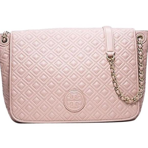 7a7b48570592 Tory Burch Marion Light Oak Beige Pink Tote Tory Burch Marion Quilted Flap  Leather Light