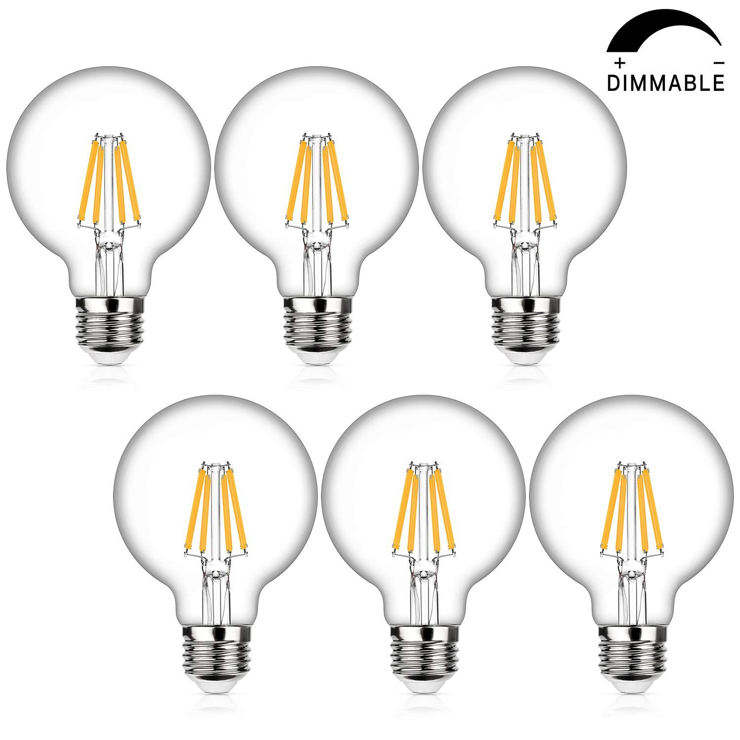 Led Globe G25 Dimmable Edison Light Bulbs 60w Equivalent