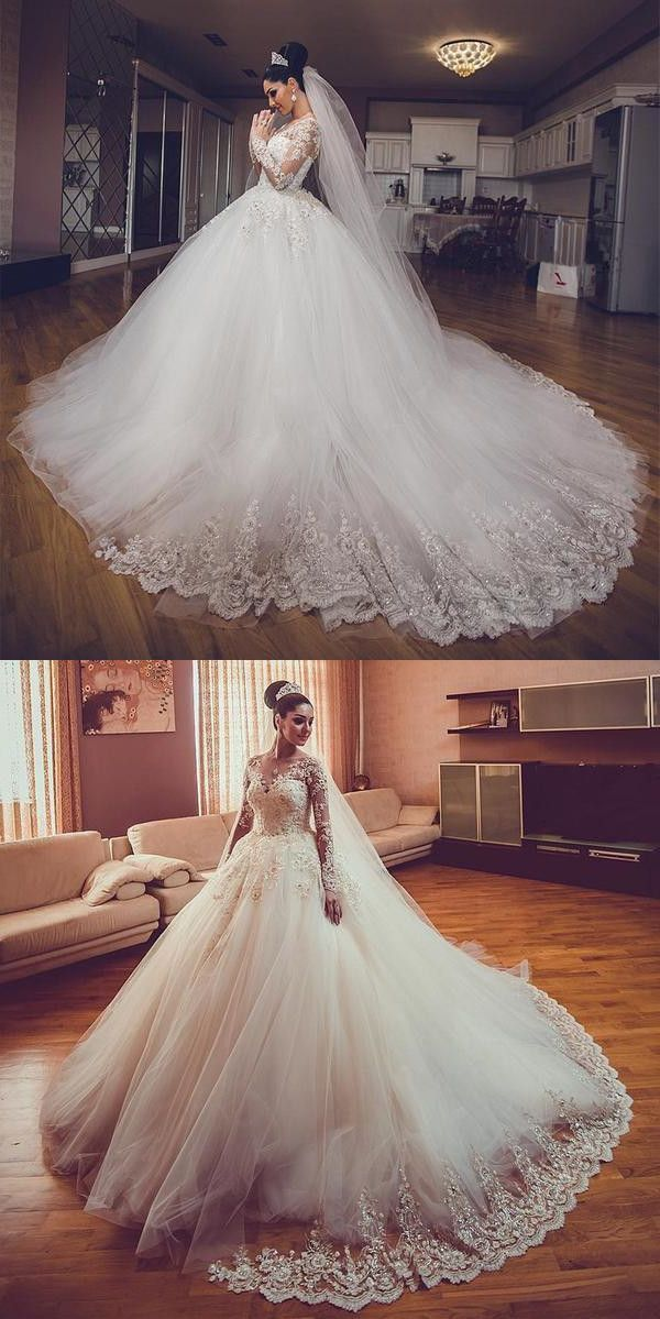 Vintage Lace Long Sleeves Ball Gown Wedding Dresses 9