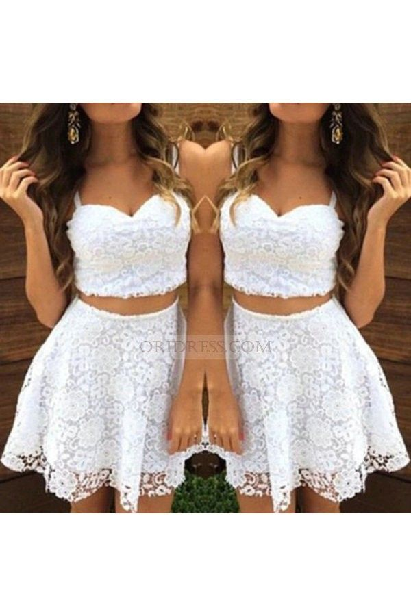 ce8774415c Spaghetti Straps Two Piece Lace Short Crop Tops White A Line Prom Evening  Dress Os0511