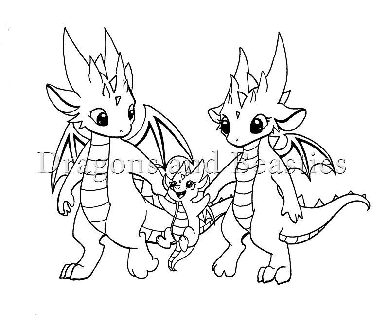 Family By Dragons Beasties Cute Dragon Drawing Dragon Coloring Page Dragon Family
