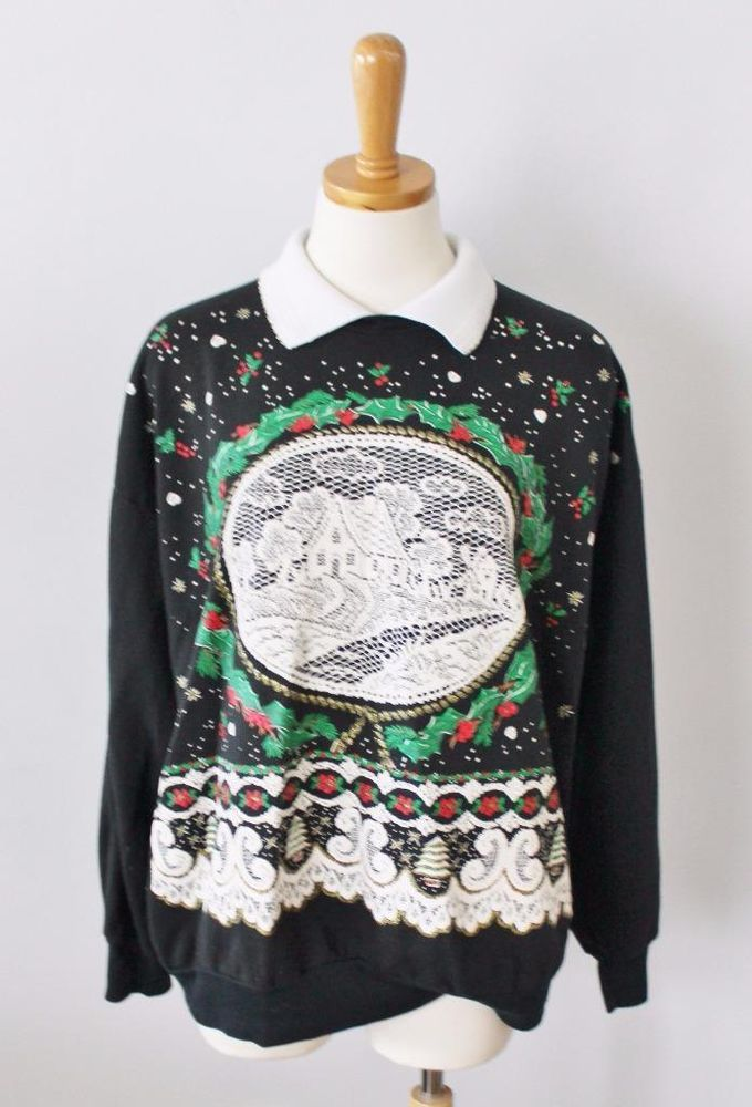 ugly christmas sweater jumper women 2xl xxl men xl cabin collar sweatshirt cs18 nutcracker