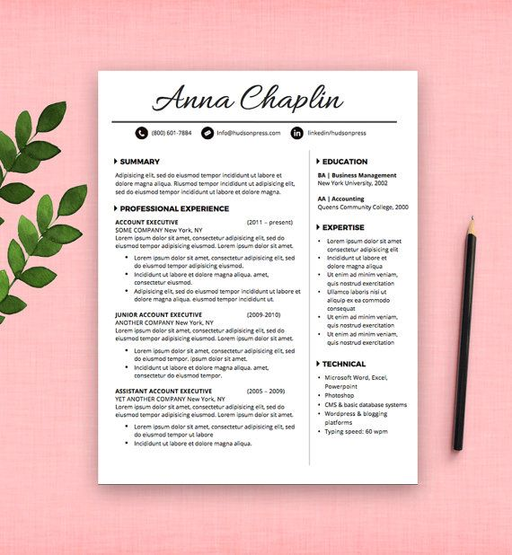 Resume Template | CV Template + Cover Letter Letterhead | MS ...