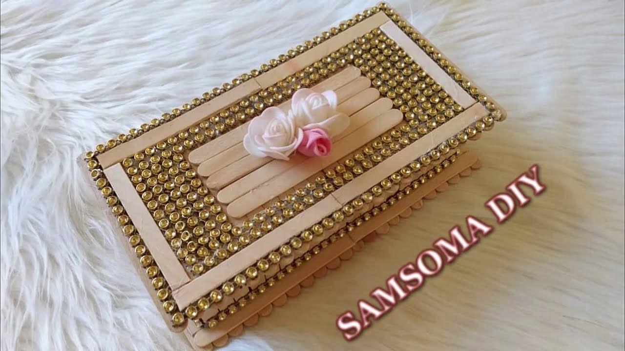 اصنعي بنفسك صندوق للمجوهرات من اعواد الايس كريم الخشبية Diy Jewellery Diy Home Decor Decor