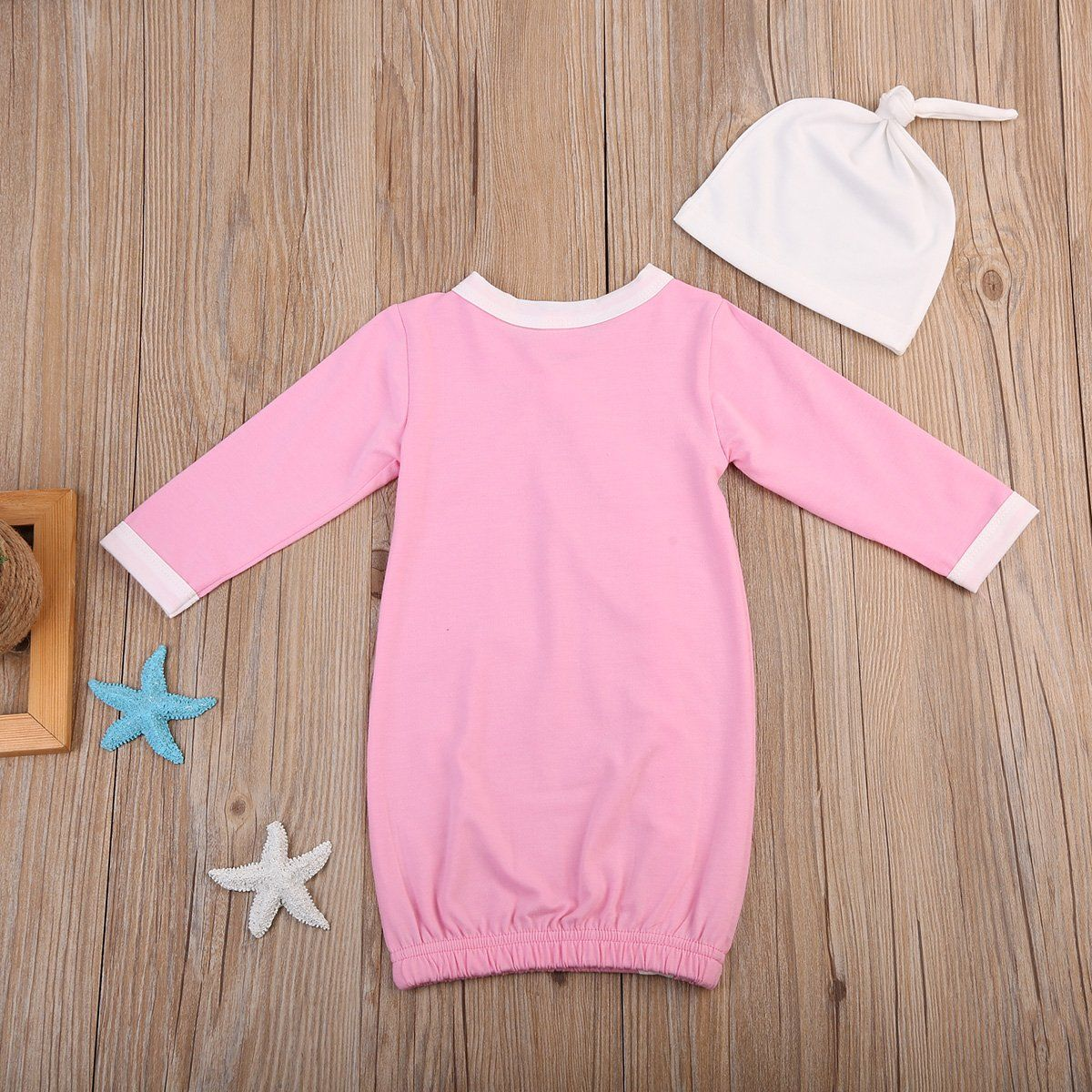 Newborn Baby Boy Girl Nightgowns Cute Long Sleeve Cotton Pajamas Sleeper  Wear With Hat 80612 Months Pink     Click image to review more details. 76e9b0fb73