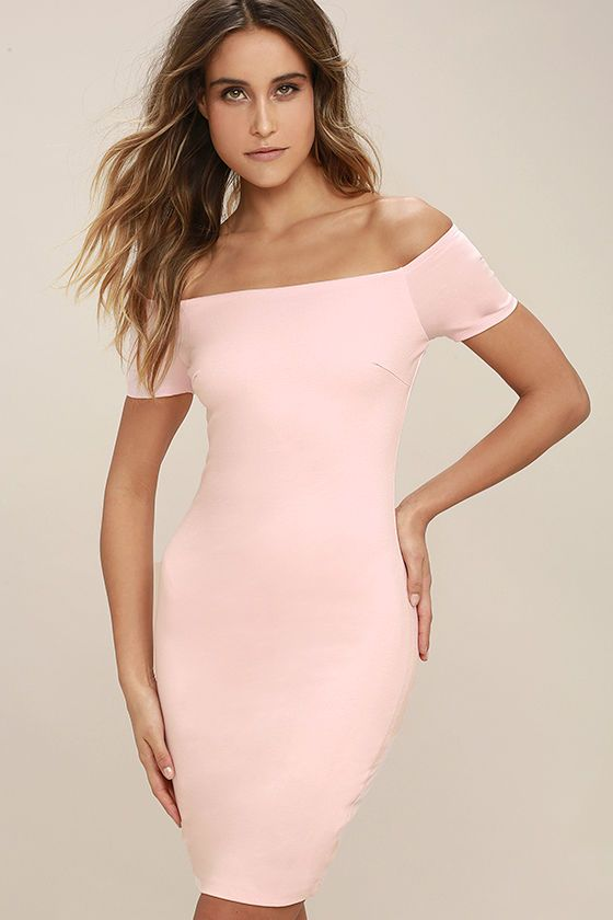 200bce79be85 You're sure to get more than a handful of numbers over the course of a  night spent in the Me Oh My Blush Pink Off-the-Shoulder Bodycon Dress!