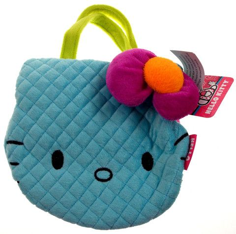 "Hello Kitty Blue Purse Sanrio 8"" Soft Plush Purple Bow Girls Fashion Pink Green"