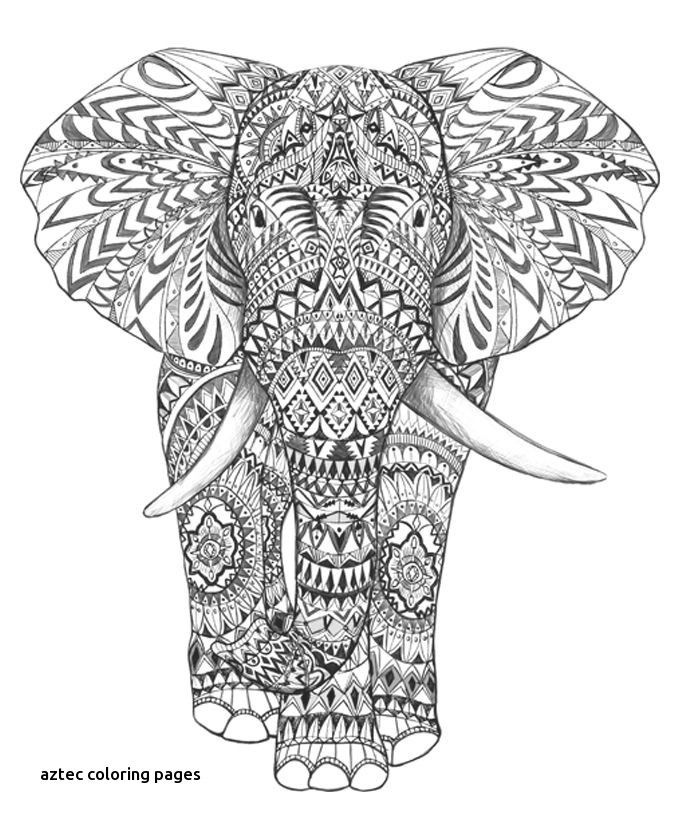 Aztec Elephant Hand Drawing Detail Graphic Art Hand