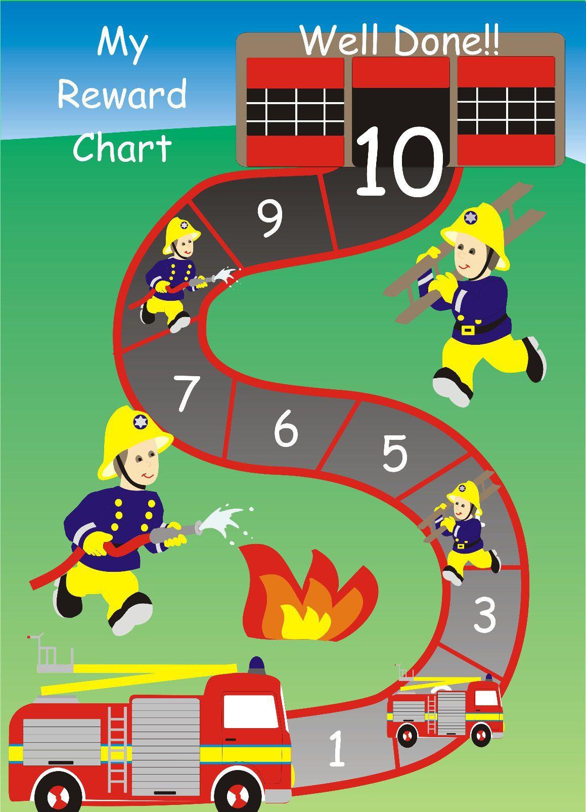 Fire Truck Reward Sticker Chart Print And Laminate