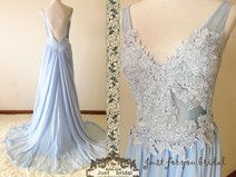 Sky Blue Deep V-Neck Backless Prom Wedding Dress