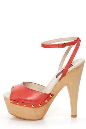 8dd90fda328 Mojo Moxy Candy Apple Red Wooden Platform Heels   Sandy-Grease ...