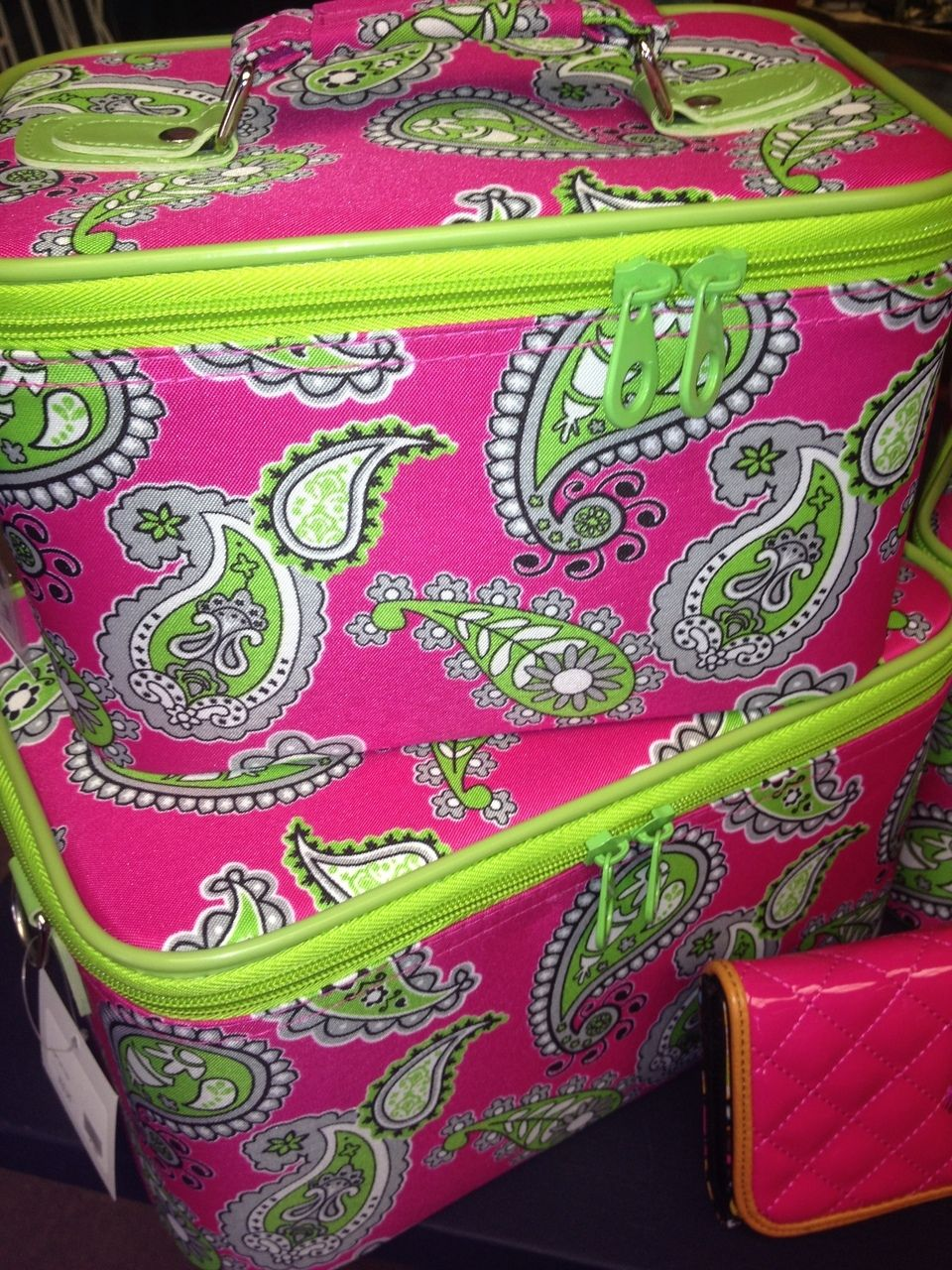 Tipsy Gypsy Boutique - Large Pink/Lime Train Case - TRAVEL CASE - MAKEUP CASE- PAISLEY - PINK AND LIME $21.95 (http://www.tipsygypsyboutique.net/large-pink-lime-train-case/)